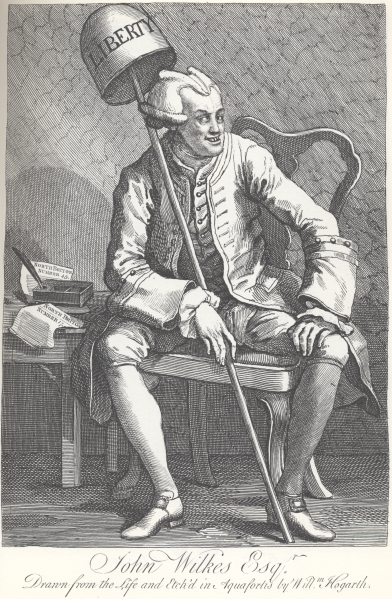 Wilkes by Hogarth  – No friend of his!