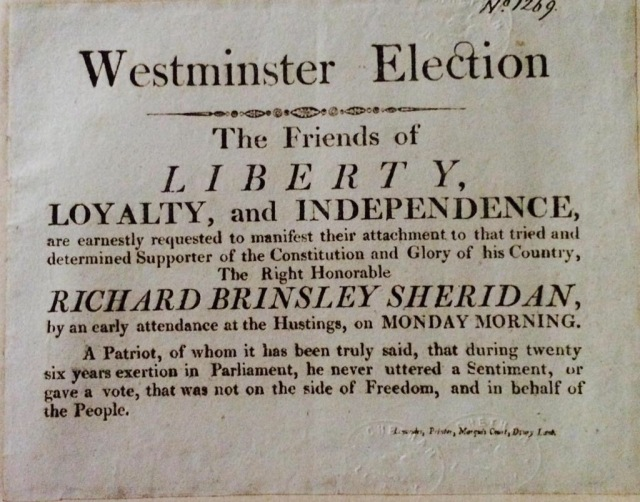Whig election 'poster' for Sheridan, the playwright