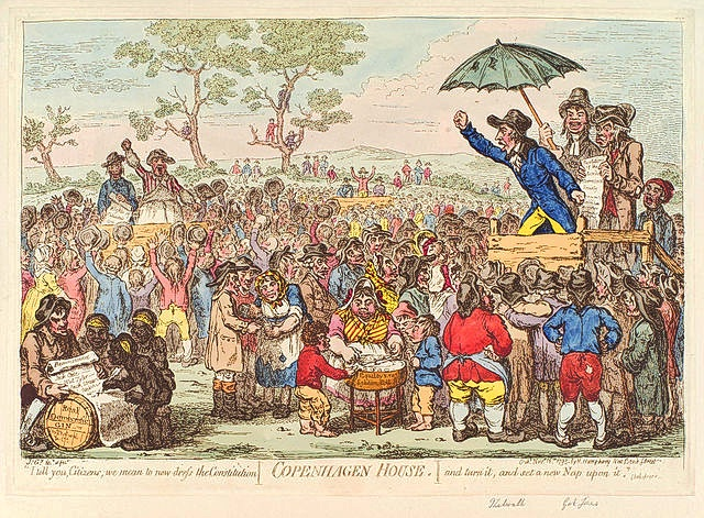 John Thelwall 'Preaching' to a Crowd Cartoon by Gillray