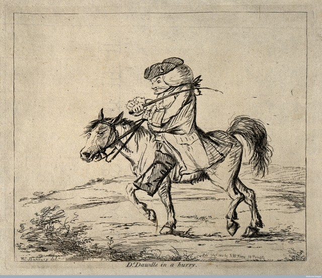 V0010920 A vexed doctor on horseback. Etching, 1801, after H.W. Bunbu