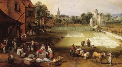 17th century washing drying laundry