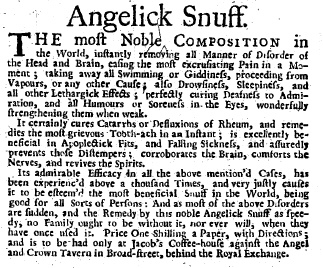 A typically understated advertisement of 1739