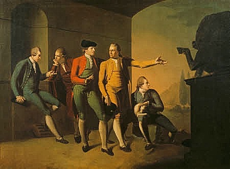 A Grand Tour Group of Five Gentlemen in Rome by attributed to John Brown (Edinburgh 1752 - Leith 1787)