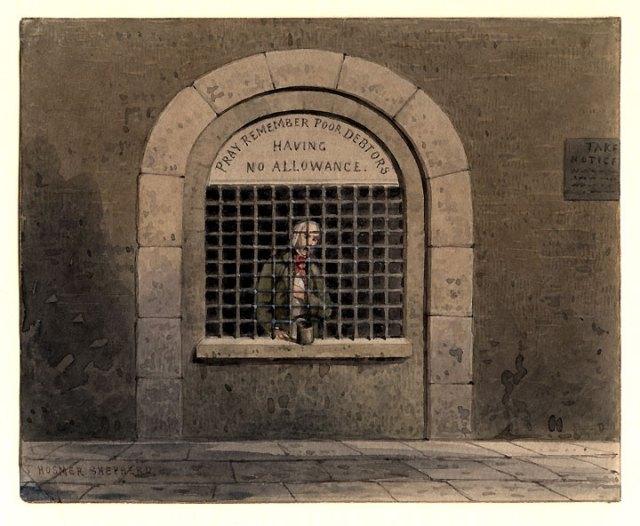 A_debtor_in_Fleet_Street_Prison_THS